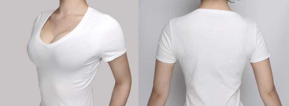 Tシャツにひびかないブラジャーをつけた後